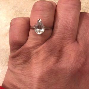 Jewelry - 14kt White gold ring w/ white sapphire stone